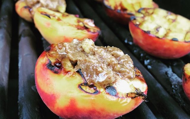 Grilled Bourbon Soaked Peaches with a Vanilla Butter Crumb Topping