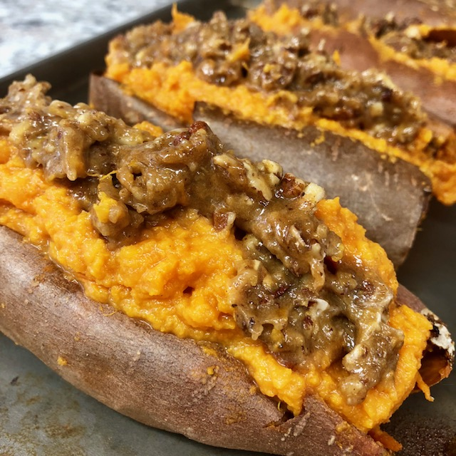 Grilled Pecan Pie Stuffed Sweet Potatoes
